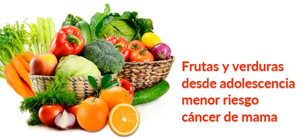 Frutas y verduras desde adolescencia menor riesgo cáncer de mama