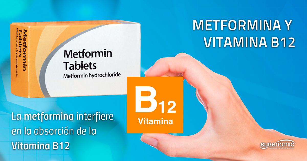 Metformina interfiere en la absorción de la vitamina B12
